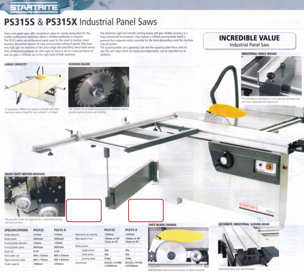 PS315S & PS315X Industrial Panel Saws