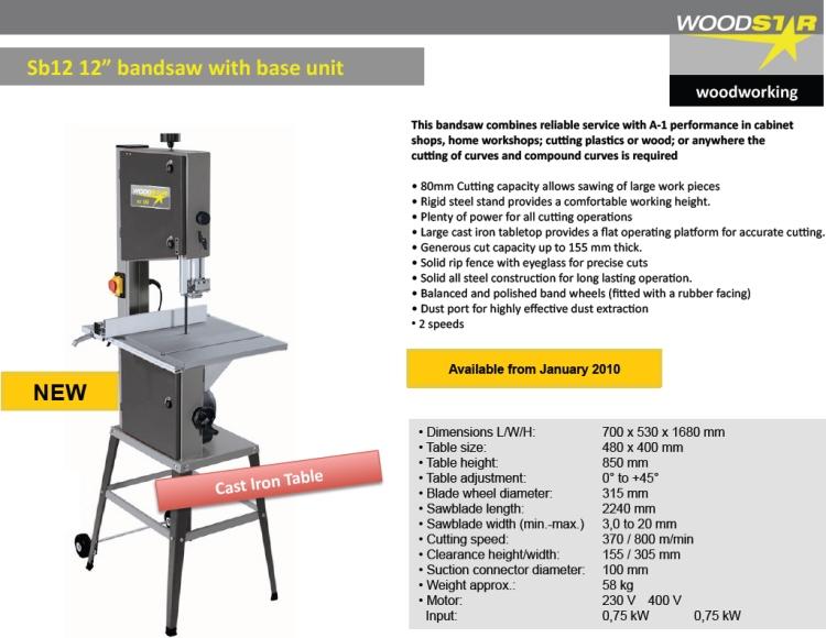 "Woodstar Woodworking - Sb12 12"" Bandsaw With Base Unit - D B ..."