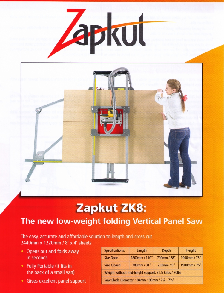 Zapkut ZK8 - The New Low Weight Folding Vertical Panel Saw